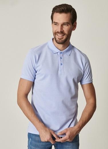 Altınyıldız Classics Polo Yaka Cepsiz Slim Fit Dar Kesim %100 Koton Düz Tişört 4A4820200077 Mavi